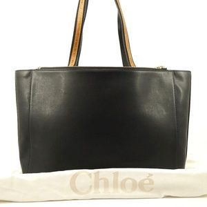 Auth Chloe Sam Black Brown Leather Tote #1677C16